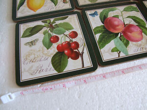 Brand new in box fruits theme cork backed set of 6 coasters London Ontario image 6