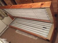 Double Sun Bed - Lie Down, Fast Tan Bulbs - Solid Pine