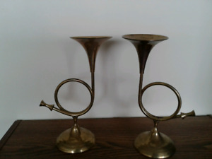 Brass Horn Design candle holders.