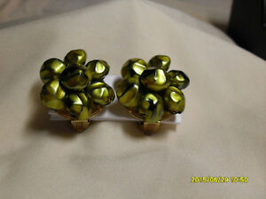 8. Vintage Clipon Earrings - Green Beaded Flower