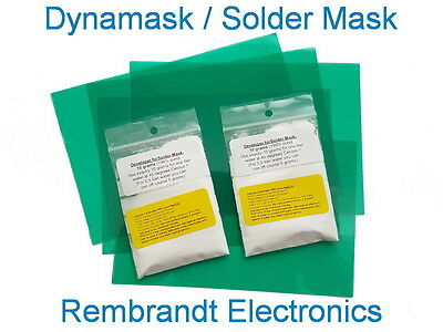 Dynamask Starter Kit Solder Mask. 5 Sheets 15x10cm 2x10 Gram Developer Us
