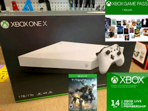 Limited Edition White XBOX One X with game, GOLD & Game Pass