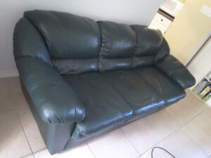 7ft green leather couch