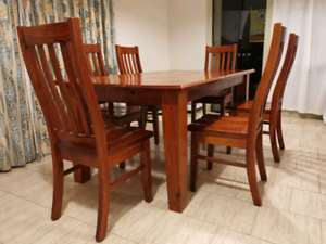 $ 220 Solid wood Dining Table with 6 chairs .