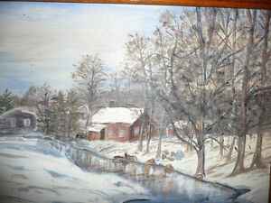 "Original Oil Painting ""Winter's Day By The Stream"" Stratford Kitchener Area image 3"