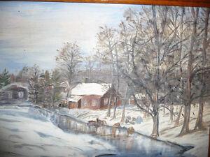 "Original Oil Painting ""Skating on the stream"" Stratford Kitchener Area image 3"