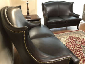 Bombay co Heathrow Leather wing back chair and settee for sale