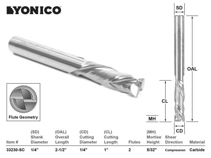 """1/4"""" Dia. 2 Flute Compression CNC Router Bit - 1/4"""" Shank - Yonico 33210-SC"""