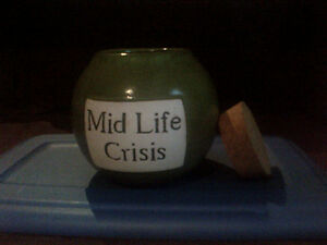 Mid Life Crisis savings jar with cork lid--NEW PRICE!! Kitchener / Waterloo Kitchener Area image 2