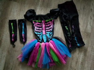 Girl's Vibrant Skeleton Costume - size S