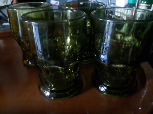Vintage Green and Amber Glassware