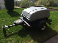 Motorcycle and/or Small Car Trailer with Cargo Pod