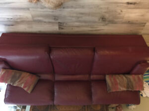 QUALITY RED LEATHER SOFA - PRICED TO SELL