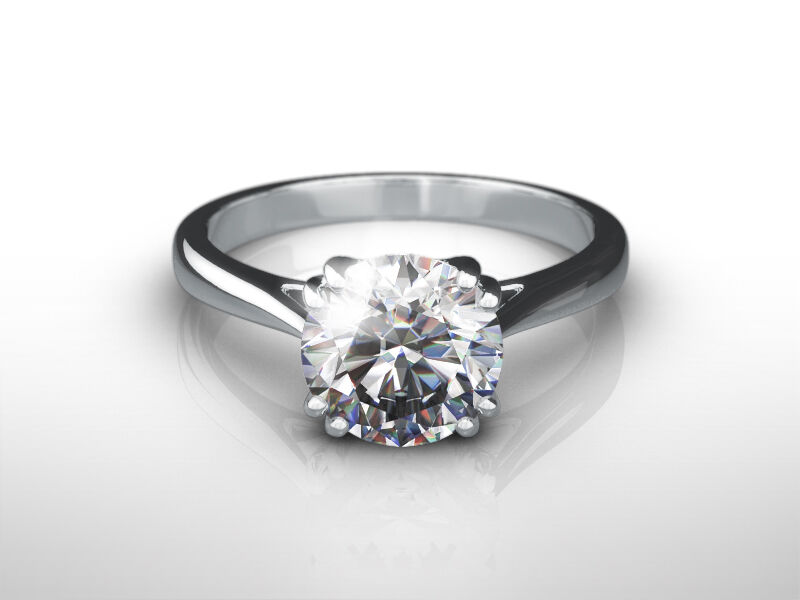 Diamond Round Brilliant Ring 14 Kt White Gold 2 Ct Womens Solitaire Si2 8 Prong
