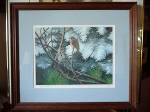 """Hand Signed, Numbered Lithograph by Peter Miehm """"Finches"""" 1981 Stratford Kitchener Area image 1"""