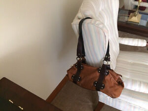 Tan leather bag by Valentini. REDUUCED London Ontario image 2