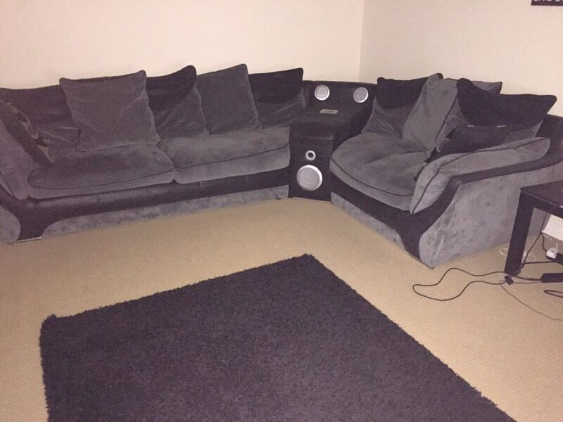 Massive Corner Sofa With Build In Speakers Docking Station In