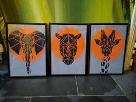 Giraffe Rhino Elephant framed prints digital art