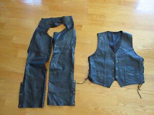 Chaps de moto et veste en cuir
