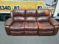 3 seater sofa in brown leather Hyde all reclining £125