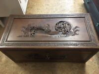 Chinese camphor wood hand carved chest/ settle