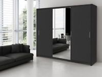 BRAND NEW MONACO 3 DOOR SLIDING WARDROBE 250cm WIDE WITH FULL MIRROR IN BLACK WHITE WALNUT WENGE