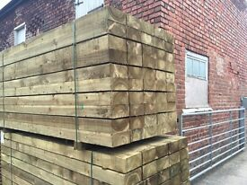 """🌲High Quality Tanalised Timber Sleepers • New • 8""""X 4""""X 2.4M"""