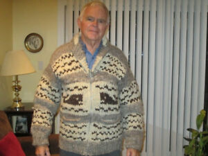 Two Cowichan sweaters $225.- 1 pullover. 1 zippered. Size large