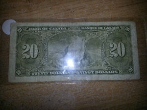 1937 20$ bill in good condition for its age only 50$............ London Ontario image 2
