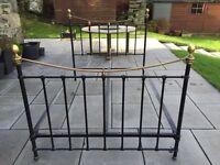 "Antique Victorian Cast Iron Bed. 4'6"""