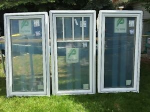 3 Beautiful New White Vinyl Windows For Sale, made by Ply Gem