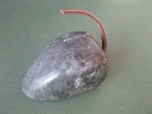 LARGE POLISHED SOAPSTONE MOUSE WITH LEATHER TAIL, SIGNED Belleville Belleville Area image 1