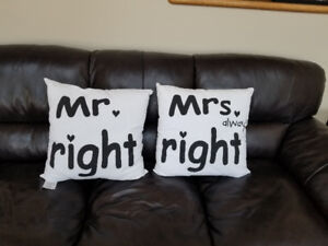 NEW Mr Right and Mrs Right pillowcases including pillows!!