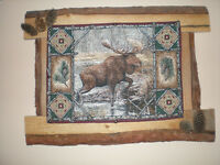 """The Moose"" tapestry on wood frame"