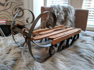 Wood/Metal Sled Decorative Accent