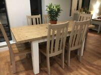 Large extending table NEW and 6 chairs