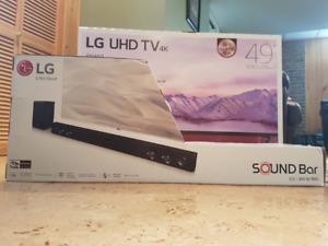"""LG 49"""" Smart TV with LG Sound Bar and $100 Gift Card"""