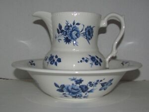 BLUE AND WHITE JUG WITH MATCHING BOWL