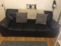 DFS black leather sofa and chair
