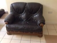 Leather sofa's with solid wooden frame & bottom drawers 3+3+2