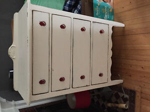 Antique dresser, white with red hardware