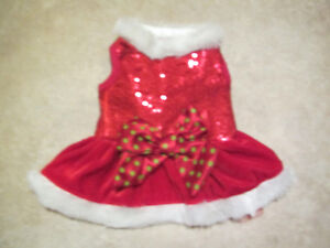 Holiday/Christmas dog dress with sequins-x small