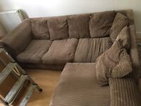Brown fabric corner sofa