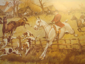 """Fox Hunt Full Cry Through The Homestead,16""""X20"""" George Wright Peterborough Peterborough Area image 3"""