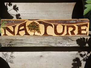 ORIGINAL AND UNIQUE WOODBURNED NATURE SIGN ON RECLAIMED WOOD Peterborough Peterborough Area image 3