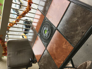 Tiled Table Patio Set. Inc 4 chairs/8 Cushions and Umbrella.