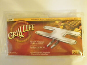 GRILL LIFE STAINLESS STEEL DUAL H BBQ BURNER