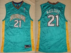 NWT-Jamaal-Magloire-21-New-Orleans-Hornets-Reebok-Replica-Mens-Road-Jersey-XL