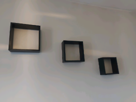 Floating B&Q black cube shelf. Set of 3.