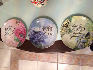"3 Nice Collectible Porcelain Designer's Family Plates - 8"" Dia."